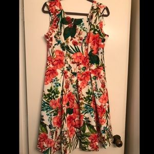 Dress Barn Bright Floral A-Line Dress size 12